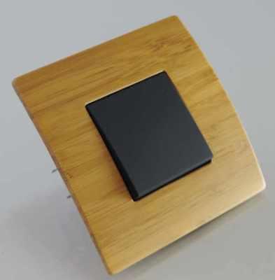 Serie Schwarz Holz (Design Orgon Wechselschalter schwarz mit Rahmen Holz Bambus Schalterserie #8949)