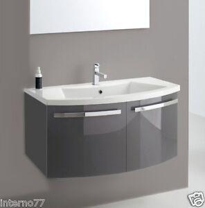 Mobile da bagno curvo sospeso vari colori base96 ly06 b ebay - Mobile bagno curvo ...