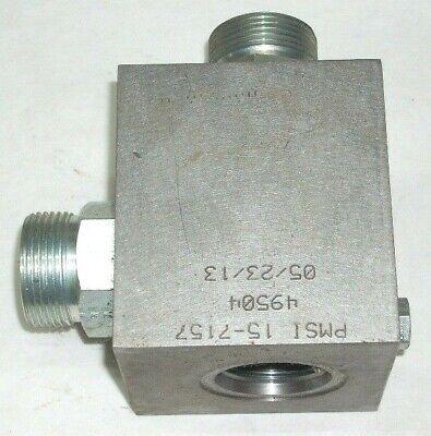 Pmsi 15-7157 Hydraulic Valve Block 49504 Meas 3 18 X 3 12 X 3 W 1 14 Inlets