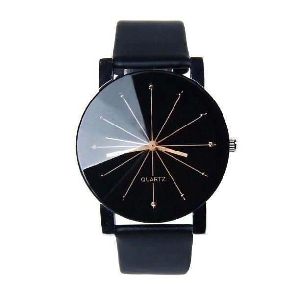 Uhr Armbanduhr Analog Modisch Rund Watch Damen Quartz Damenuhr Schwarz