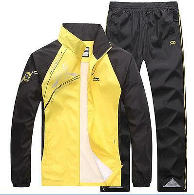 Mens Active Wear Jogging Sport Suits Jacket Pants Tracksuit