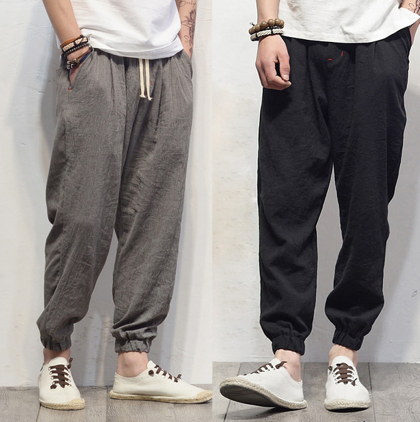 New Men/'s Linen Blend Beach Pants Loose Cotton Trousers Casual Breathable Hot S