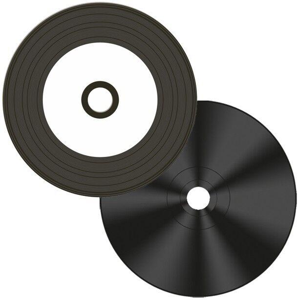 50-Pak Digital-Vinyl =White Inkjet Hub= Diamond Black Record