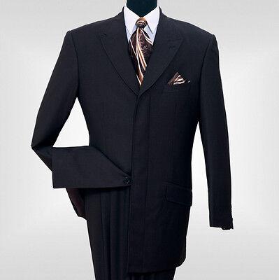 4 Knopf Herren Anzug (Herren Wolle Gefühl Mode Anzug 4 Versteckt Knopf, Dreifach Plissierter Rücken Bk)