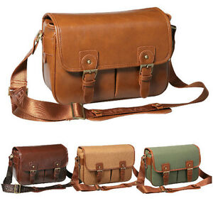 Waterproof-Canvas-PU-Leather-DSLR-SLR-Canon-Nikon-Camera-Shoulder-Bag-a-Insert