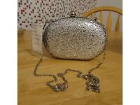 Oval Diamond Silver Quiz Clutch Bag ONO