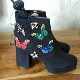Black detail boots uk 7 new