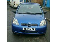 03 Toyota Yaris 1L VVTI Colour Collection. Blue. 5 Door. Petrol. 24000 Genuine Mileage. Hpi Clear