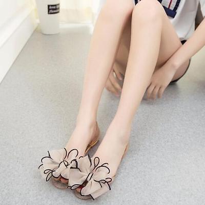 Fashion Summer Women Casual Flower Bow Flat Sandals Peep Toe Boho Beach Shoes