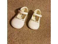 Girls White infant shoes size 5