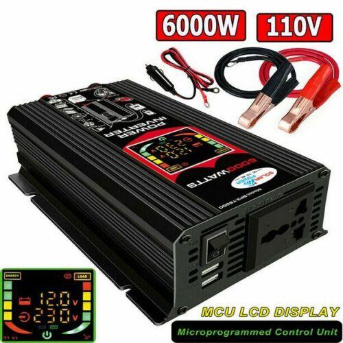 6000W Power Inverter DC 12V to AC 110V Car Sine Wave Converter Modified 2 USB
