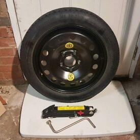 """BMW 1 3 5 Series Z4 E46 E60 E61 E90 E9x E85 17 inch 17"""" Space Saver Spare Wheel Tool Jack Kit"""
