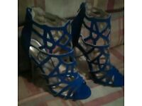 Miss guided blue cut out heels size 3