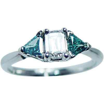 Vintage White Blue Diamond 3 stone Engagement Ring 14K Gold Estate Jewelry
