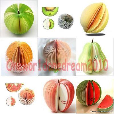 1x Apple Peach Watermelon Pear Lemon Orange Fruit Note Memo Paper Scratch Pad