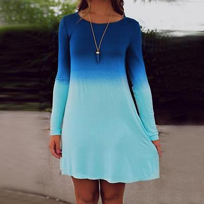 Womens Long Sleeve Gradient Color Short Mini Dress Casual Loose Party Dress