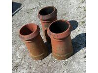 3 Chimney pots. Garden planters. Feature.
