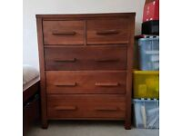 Solid wood 6 drawer chest of drawers with matching bedside table