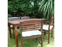 5 Peice Hardwood Garden Furniture plus Green checked cushions