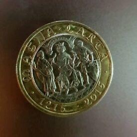 RARE COLLECTABLE 2 pound coin MAGNA CARTA 2015