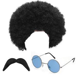 Mens Hippy Hippie Wig Moustache Glasses Fancy Dress 1960s 1970s