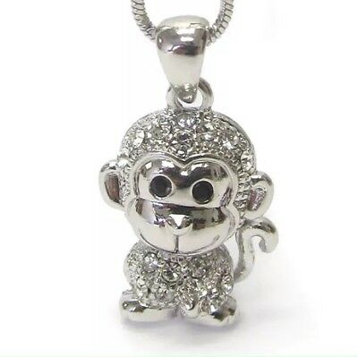 White Gold Monkey - NEW Cute Monkey Pendant Necklace White Gold Silver Crystals Animal Gift