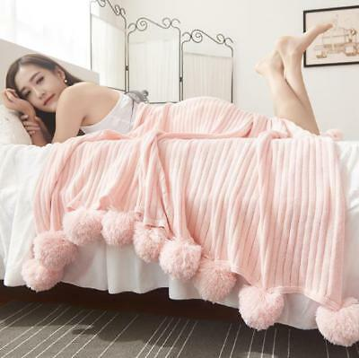 Cotton Blanket Covers - MYAFASHION Pure Cotton Soft Warm Knitted Blanket with Balls Acrylic Bed Cover 1P