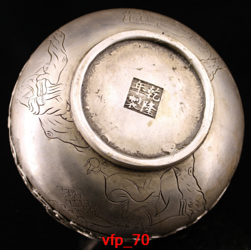Old China antique Qianlong Pure copper Set gemstone turtle crane Incense burner