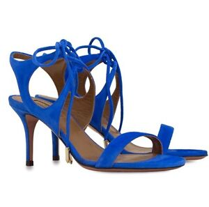 Aquazzura  Mondrian blue suede sandals. 39
