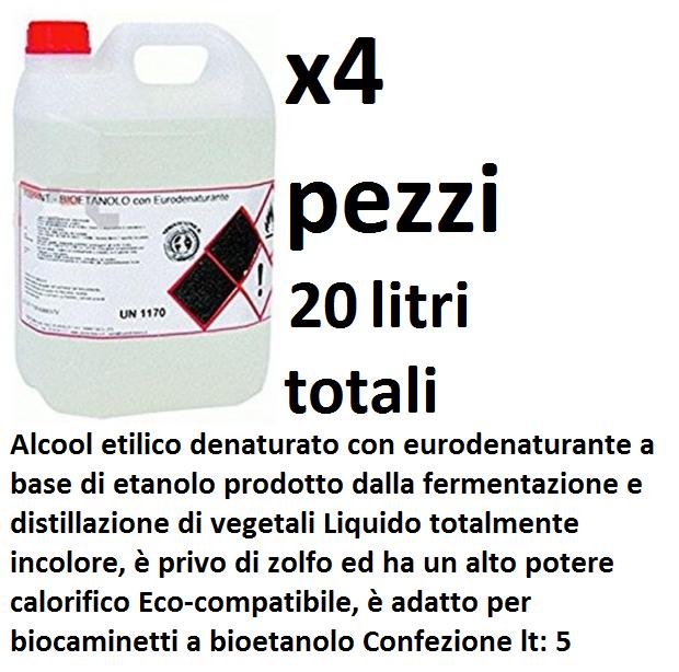 x4 Bioetanolo da 5lt combustibile ecologico naturale inodore camino biocamino