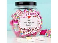 Personalised 'love hearts' sweet jar