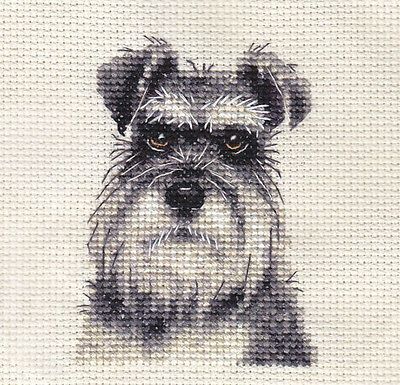 MINIATURE SCHNAUZER ~ Dog, Full counted cross stitch kit, All materials included