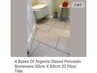4 x boxes Argenta Glazed Porcelain Stoneware Tiles (30 cm x 60 cm) 8 per box