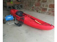 Ocean malibu 2xl kayak with portage trolley and 2 j bars for roof