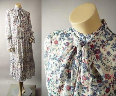 - High Neck Romantic Vintage Floral Poet Sleeve Midi Tea Length 266 mv Dress S M L