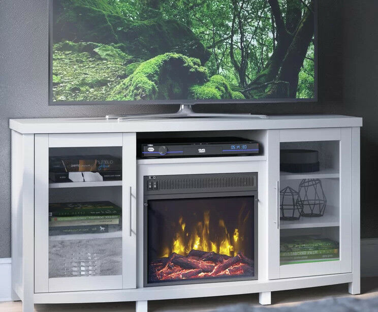 White Fireplace TV Stand 65 inch Wood 2 Cabinets 6 Shelves M