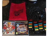 PS3 Wired Buzz Controllers and Buzz Quiz TV and Music Quiz