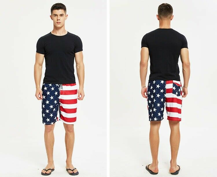 Men Summer Beach Pants Swimwear Swim Trunks Surf Board Shorts American USA Flag Clothing, Shoes & Accessories