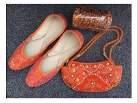 Set of Orange Kusey, Bangles and Purse