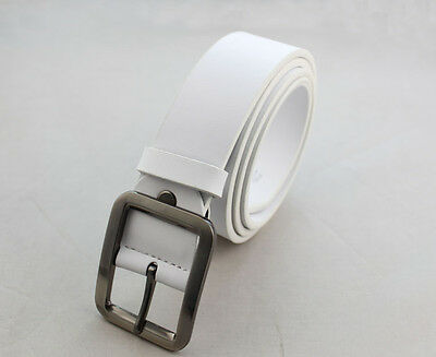 (1PCS Classic White Genuine Cow Leather Mens Belt Waistband #23653)