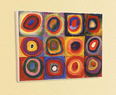 BLAUER REITER W. KANDINSKY FARBSTUDIE Quadrate Ringe 13 auf Platte aufgezogen