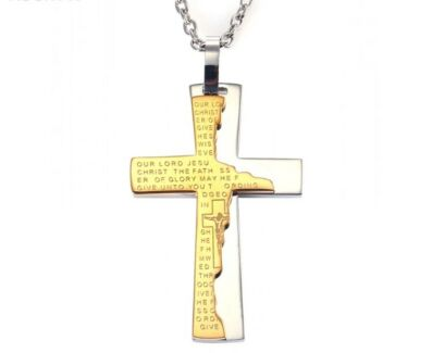 Golden Silver Cross Bible 3D Christian Jewelry Stainless Steel P