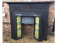 Victorian fireplace - original tiles