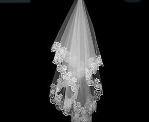 Beautiful tulle and lace wedding veil