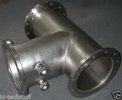 Stainless Steel Vacuum Cf Tee Fitting 8 Inch Id 11.25 Inch Od 12 Bolt Holes