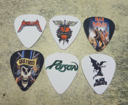 One set of 6 Rock band Single Sided Picture Guitar Picks (SERIES 1)