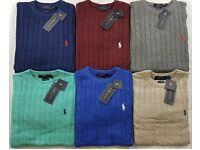 MEN'S RALHP LAUREN CABLE SWEATERS AVAILABLE IN GREY , BLACK AND NAVY BLUE..