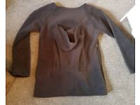 Unworn grey fleece medium jumper for you and baby harness .ust be worn