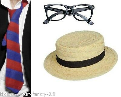 Women's School Girl Fun Fancy Dress Kit Red  & Blue Tie Glasses Straw Boater Hat