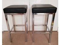 2 x bar stools - black faux leather/chrome